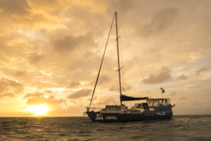 Cairns Liveaboard scuba diving - Coral Sea Dreaming Vessel at sunset