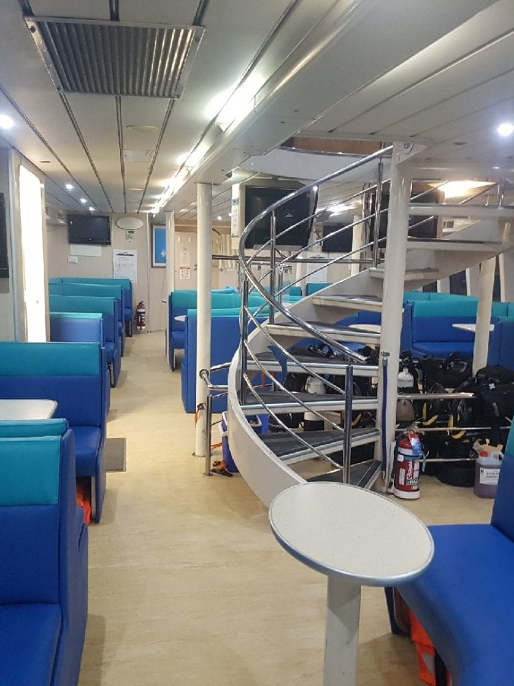 Cairns reef trip - interior of Frankland Island's Turtle Island boat
