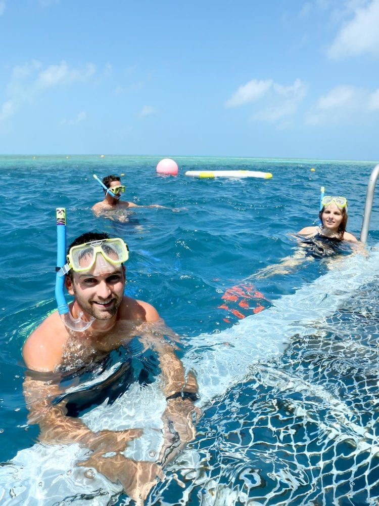 Whitsundays snorkellling and scuba diving - snorkeler at Hardy Reef Pontoon