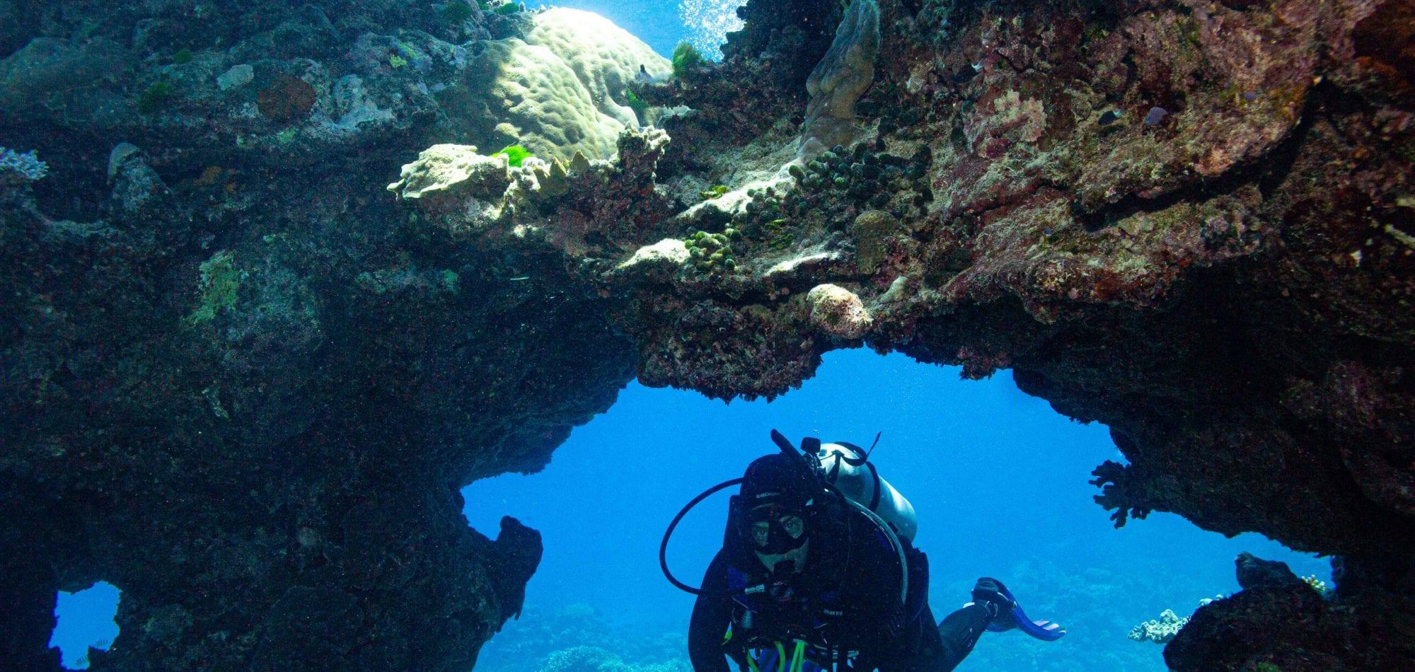 Cairns scuba diving day trip - scuba diver going through swim-through -