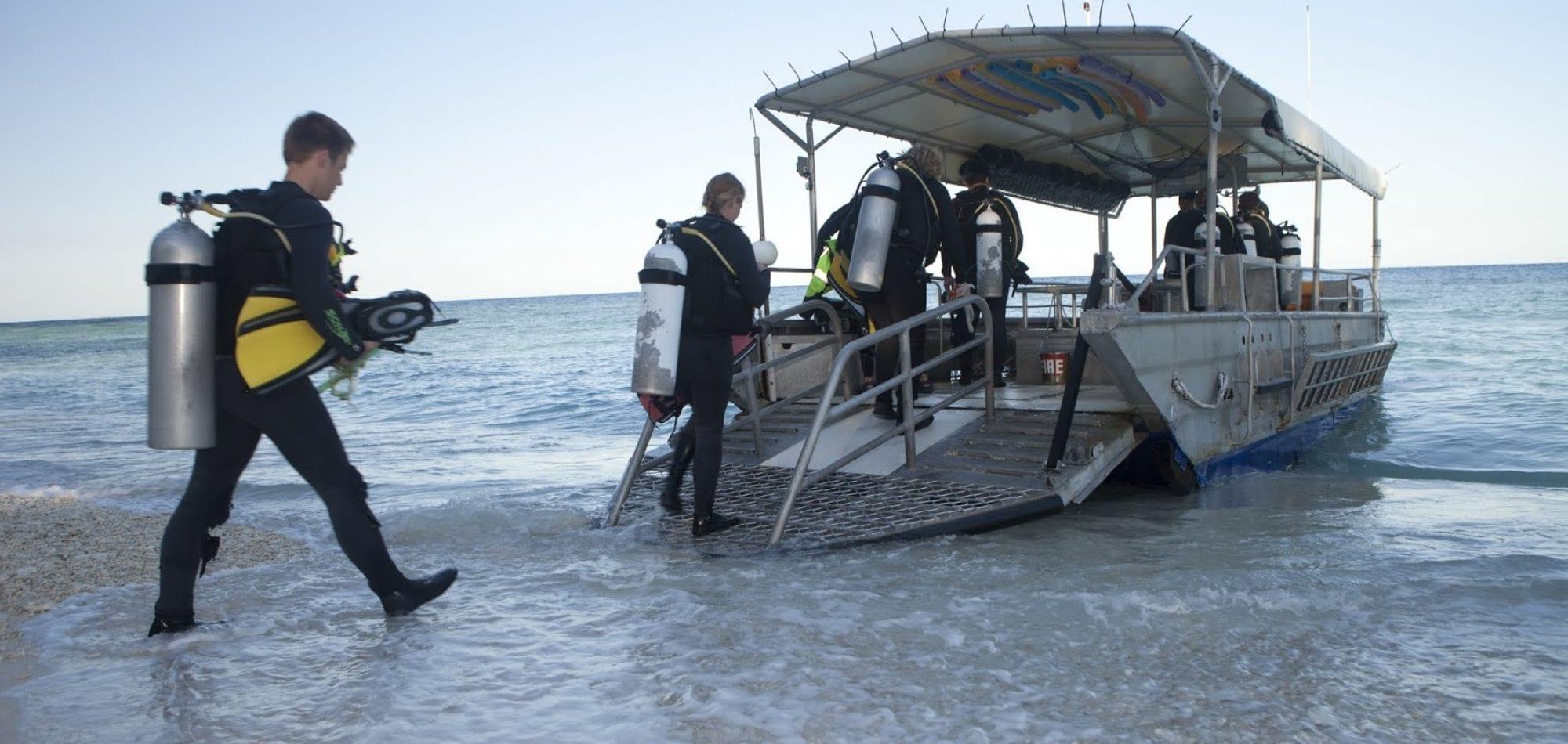 Boarding the dive boat on Lady Elliot Island